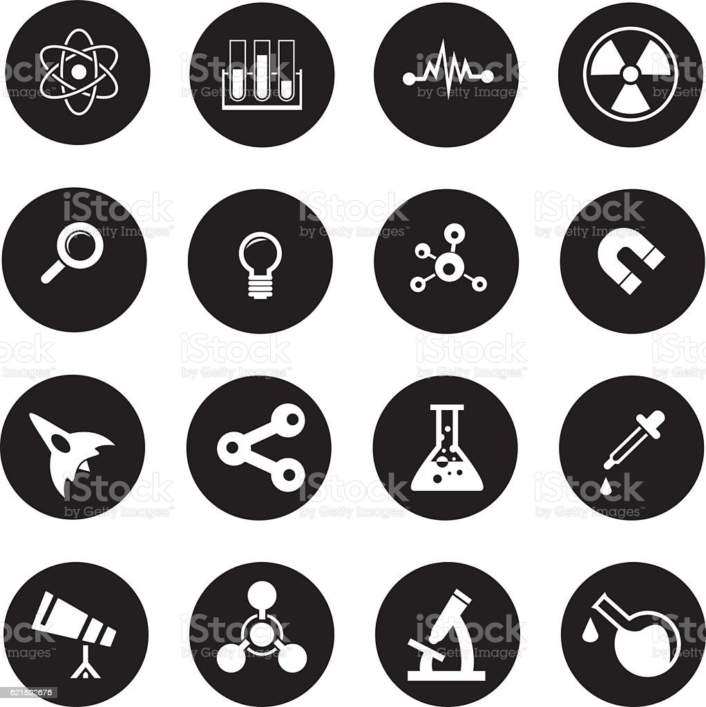 Set di icone di scienza set di icone di scienza - immagini vettoriali stock e altre immagini di astronomia royalty-free