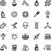Science icons - Black series