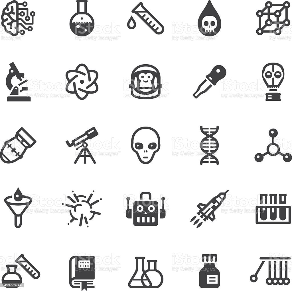 Science icons - Black series vector art illustration
