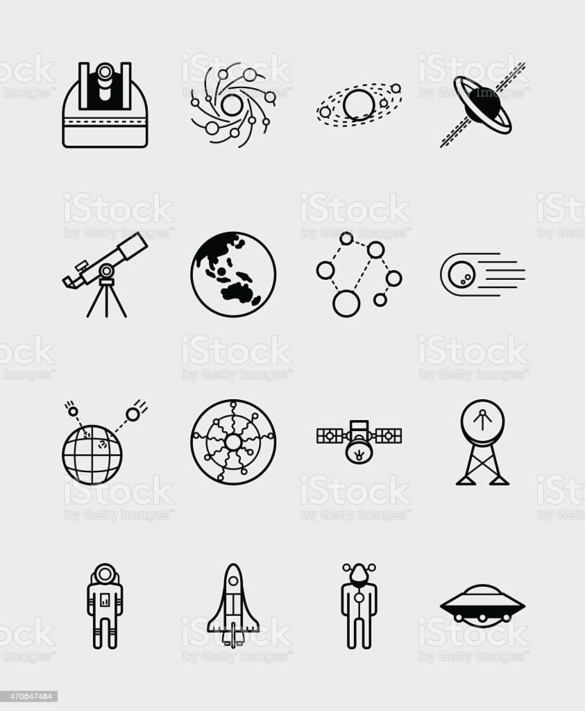 16 Science icons black vector art illustration