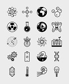 20 Science icons branches of science black