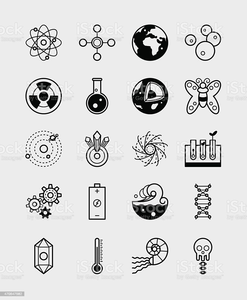 20 Science icons branches of science black vector art illustration