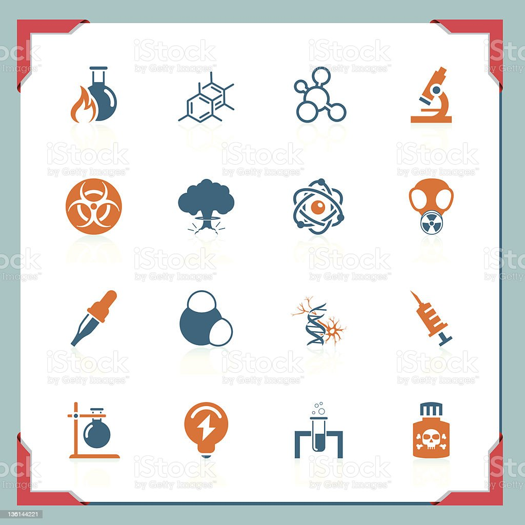 Science icons | In a frame series royalty-free stock vector art