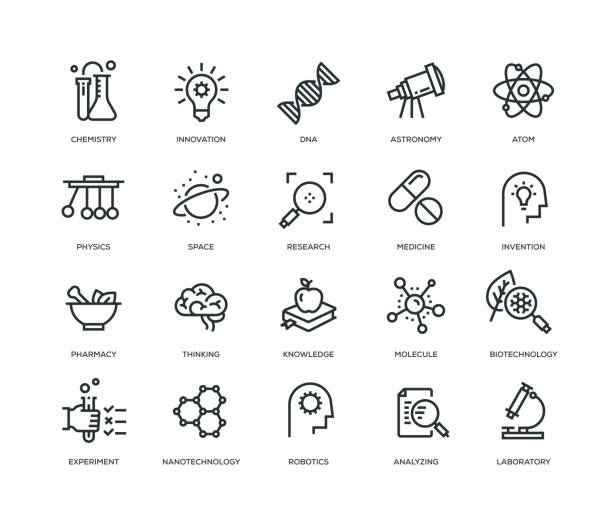 science icons - line series - science class stock illustrations, clip art, cartoons, & icons