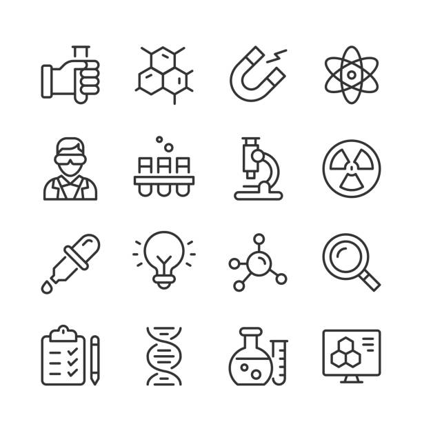 Science Icons — Monoline Series Vector outline icon set appropriate for web and print applications. Designed in 48 x 48 pixel square with 2px editable stroke. Pixel perfect. science icons stock illustrations
