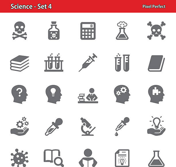 Science Icons - Set 4 Professional, pixel perfect icons depicting various science concepts laboratory glassware stock illustrations