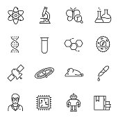 Science icons set. Line with Editable stroke