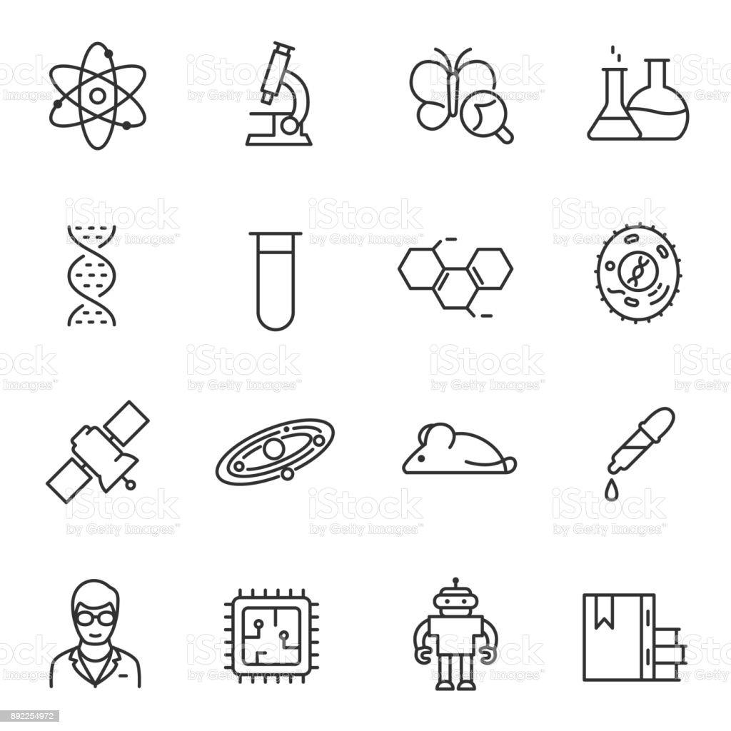 Conjunto de ícones de ciência. Linha com curso editável - ilustração de arte em vetor