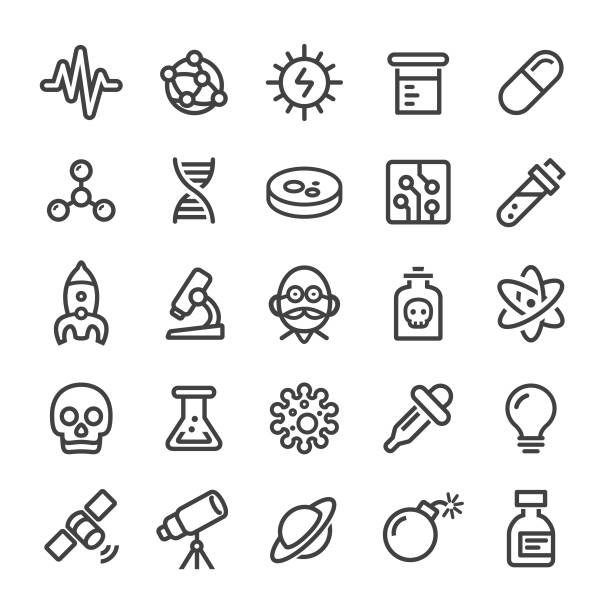 science icons - smart line series - bio tech stock illustrations, clip art, cartoons, & icons