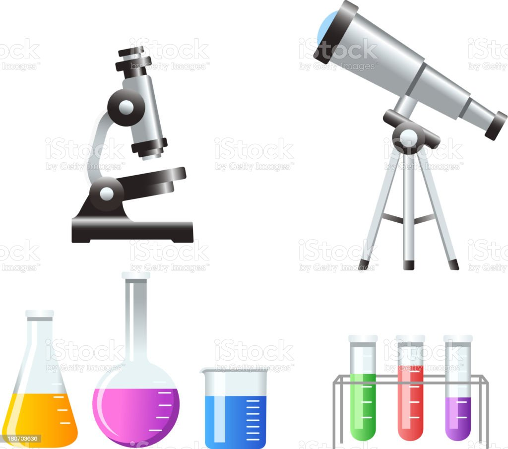Science Icons Test Tubes Microscope telescope royalty-free stock vector art