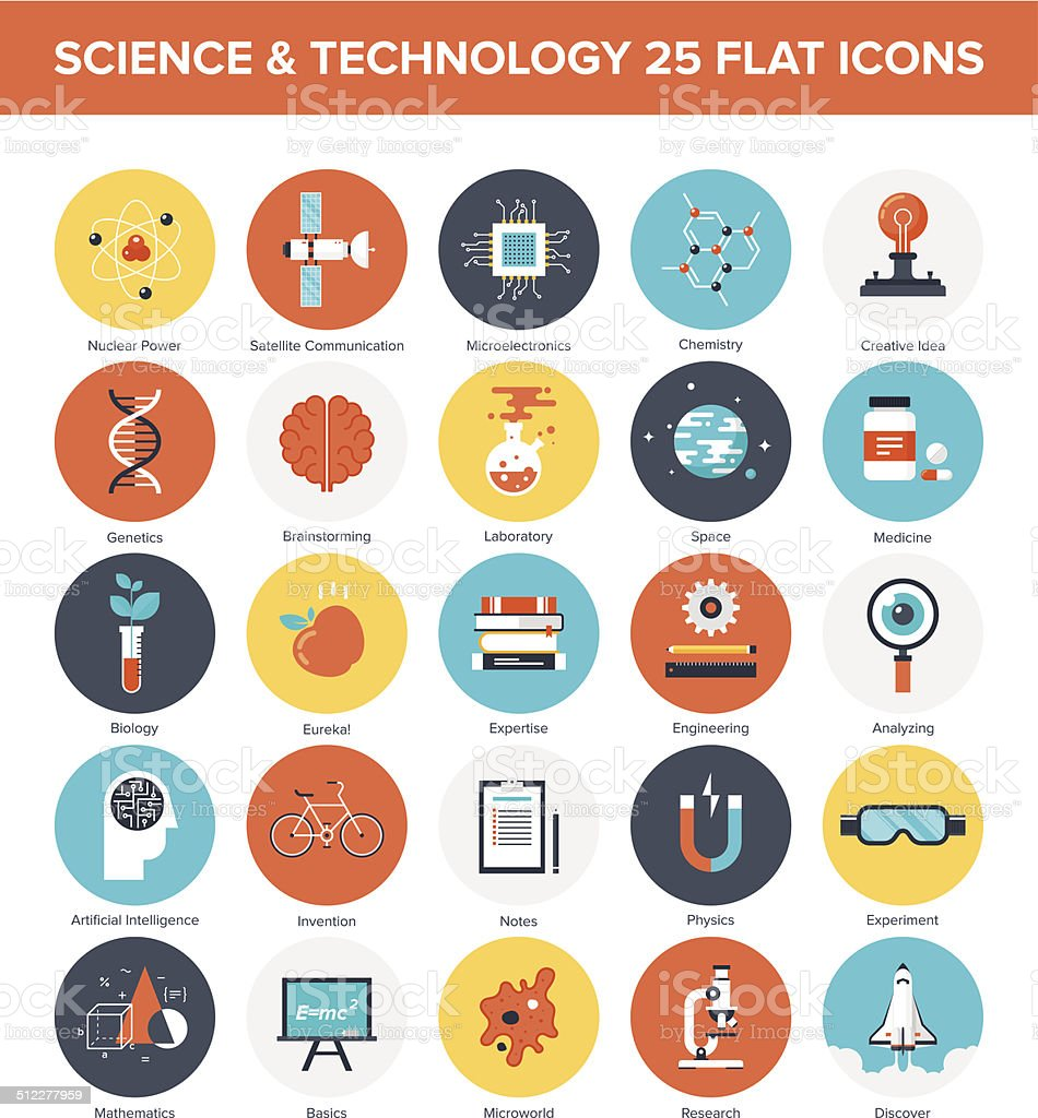 Science Icons Abstract vector collection of colorful flat science and technology icons. Design elements for mobile and web applications. Advice stock vector