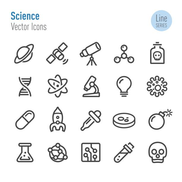 science icons - vector line series - bio tech stock illustrations, clip art, cartoons, & icons