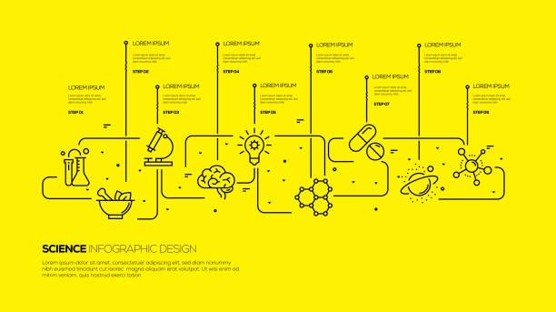 ilustraciones, imágenes clip art, dibujos animados e iconos de stock de diseño infográfico científico - infografías de medicina