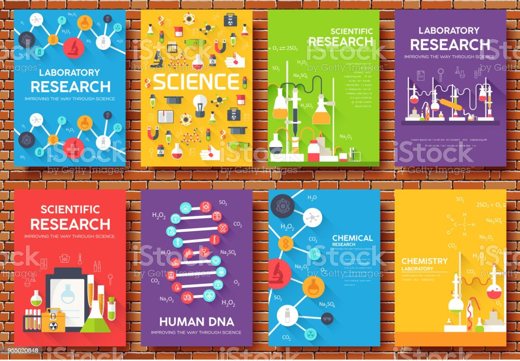 Science Information Cards Set Laboratory Template Of Flyer Magazines