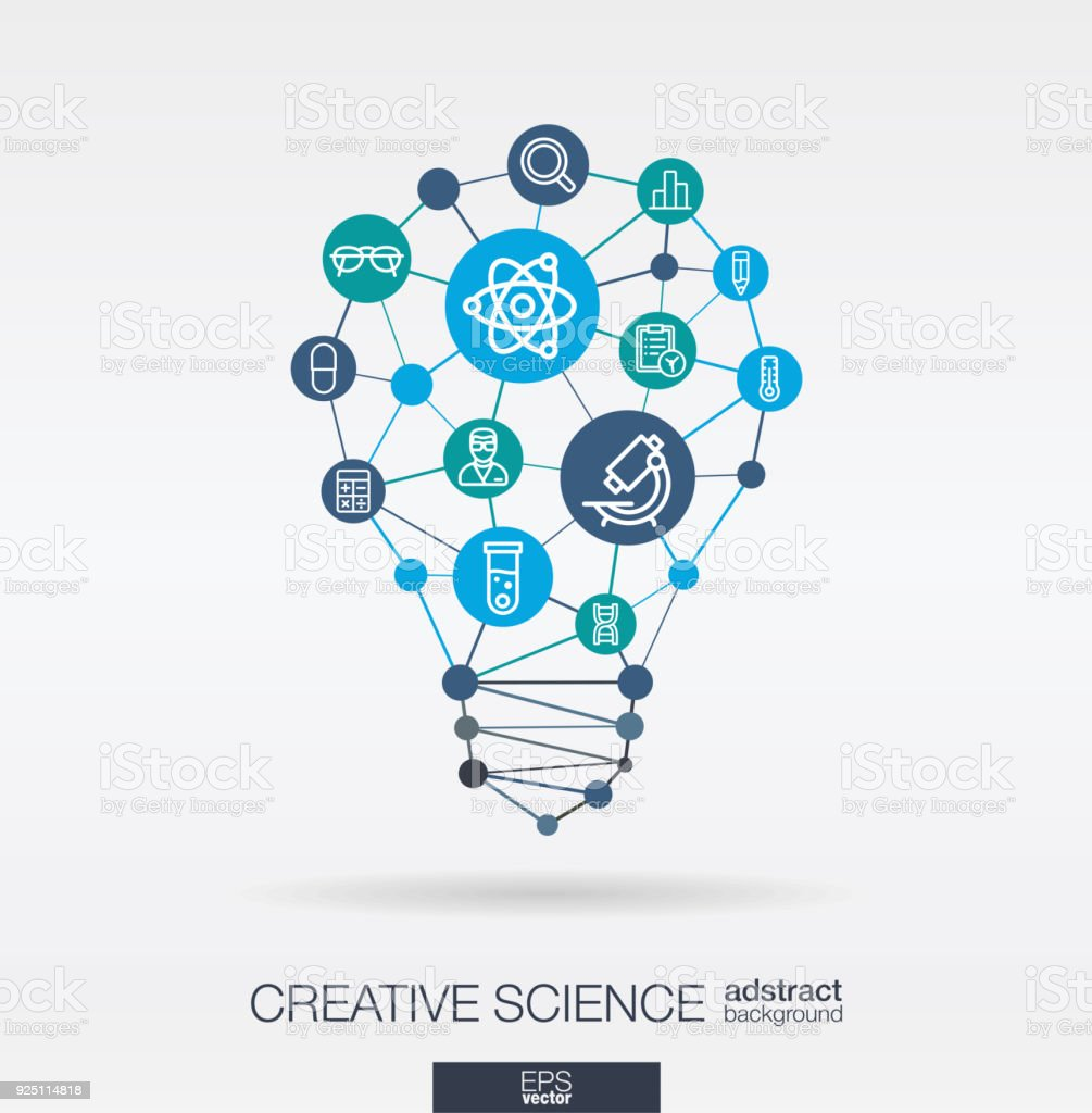 Science integrated thin line icons. Digital neural network concept. Idea, solution in light bulb shape. royalty-free science integrated thin line icons digital neural network concept idea solution in light bulb shape stock illustration - download image now