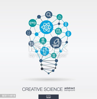 Science integrated thin line web icons. Idea, solution in light bulb shape. Digital network concept. Connected polygons and circles system. Laboratory research, innovation abstract background. Vector