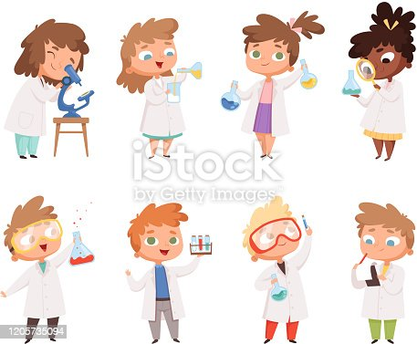 istock Science kids. Childrens in chemistry lab boys and little girls vector funny people 1205735094
