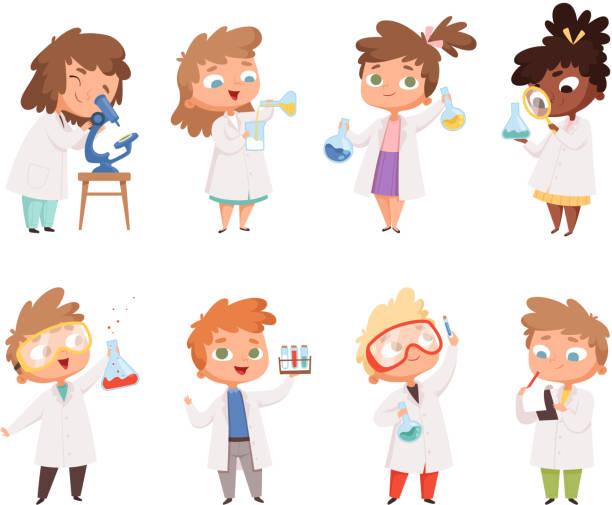 ilustrações de stock, clip art, desenhos animados e ícones de science kids. childrens in chemistry lab boys and little girls vector funny people - scientist