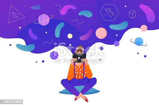 istock Science knowledge education concept, cartoon girl reading, sitting with digital book or tablet 1281510650