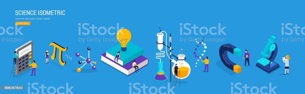 Science lab and school class. Education, mathematics, chemistry scene with miniature people, students. Isometric concept vector art illustration