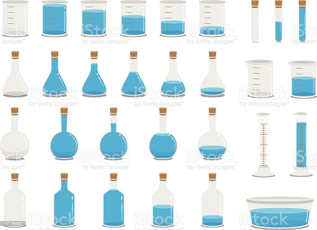 Science Lab Containers vector art illustration