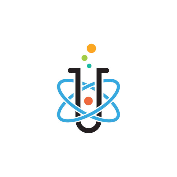 science lab design illustration of atomic nucleus vector design beaker stock illustrations