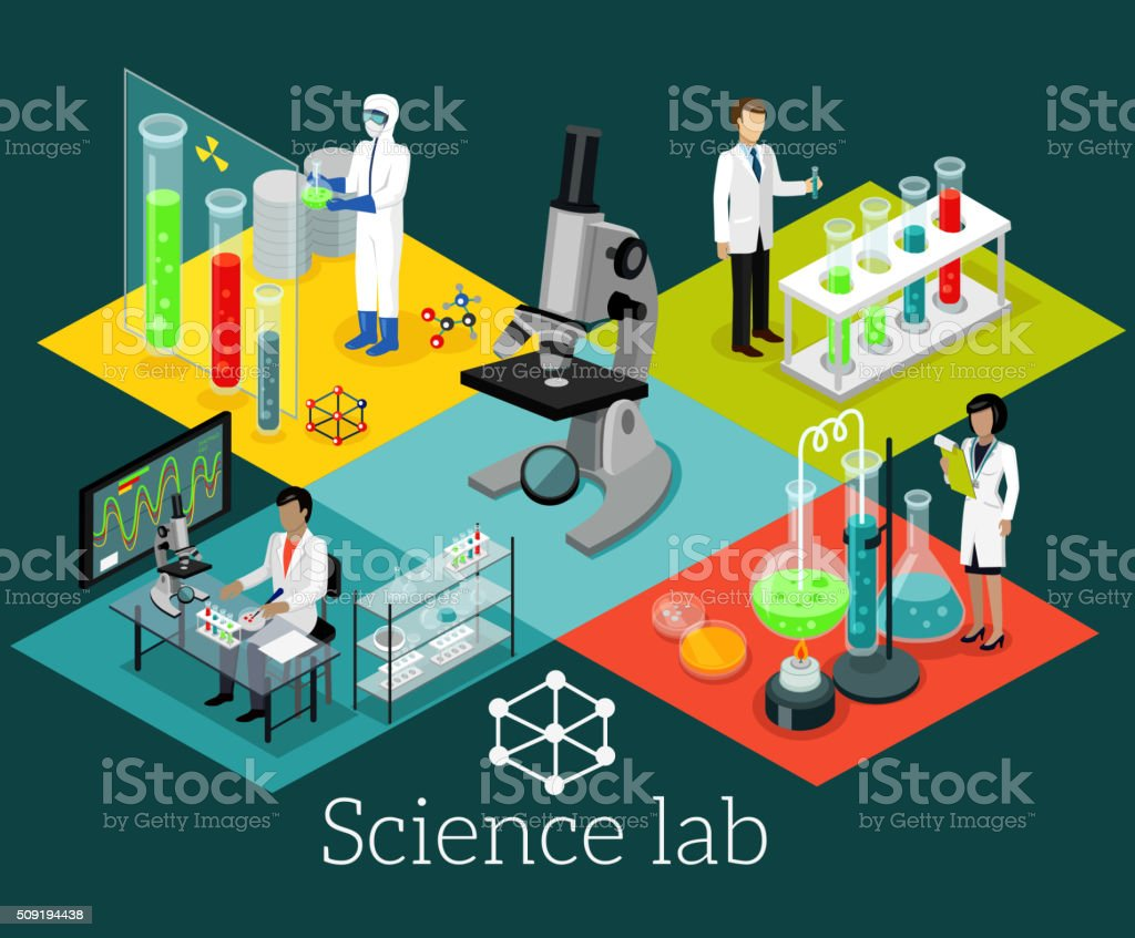 Science Lab Isomatric Design Flat Science lab isomatric design flat. Science and scientist, science laboratory, lab chemistry, research scientific, microscope and experiment, chemical lab science test, technology illustration Abstract stock vector