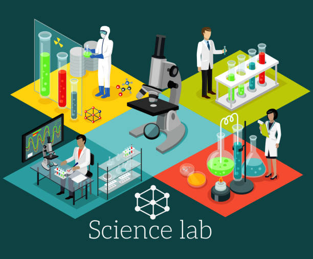 science lab isomatric design flat - bio tech stock illustrations, clip art, cartoons, & icons