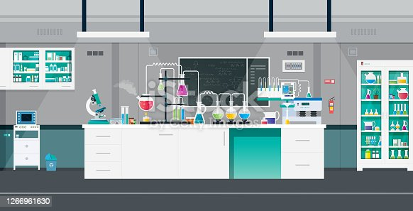 Scientific laboratories with experimental tools and equipment.