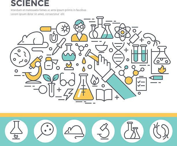 Science, laboratory glassware and science experiments concept illustration. vector art illustration