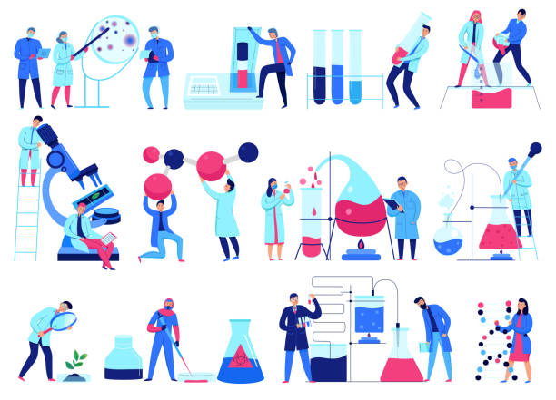 Science Laboratory Icons Set Flat design icons set with scientists working in science laboratory isolated on white background vector illustration chemical reaction stock illustrations