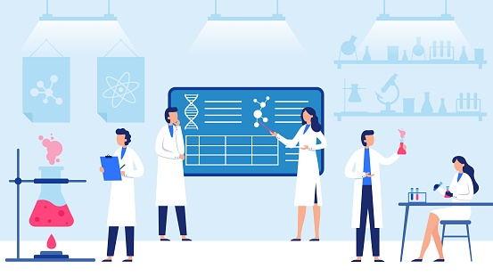 Science laboratory. Scientific lab equipments, professional scientific research and scientist workers vector illustration