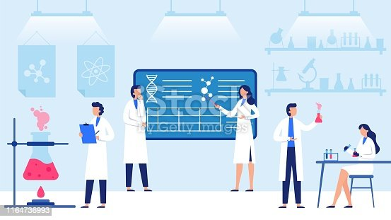 Science laboratory. Scientific lab equipments, professional scientific research and scientist workers. Medical researchers laboratory, biology scientists or doctor vector illustration