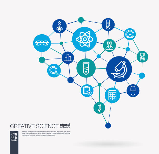 Science, laboratory test, research, innovation integrated business vector icons. Digital mesh smart brain idea. Futuristic interact neural network grid connect. vector art illustration