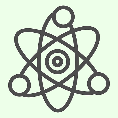 Science line icon. Atom, electron symbol outline style pictogram on white background. School chemistry and Education signs for mobile concept and web design. Vector graphics.