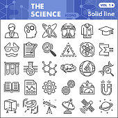 Science line icon set, Chemistry symbols collection or sketches. Science research linear style signs for web and app. Vector graphics isolated on white background
