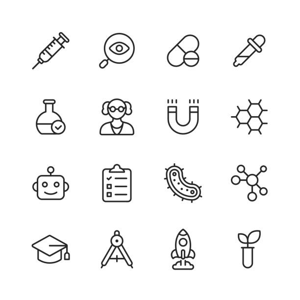 Science Line Icons. Editable Stroke. Pixel Perfect. For Mobile and Web. Contains such icons as Planet, Astronomy, Machine Learning, Artificial Intelligence, Chemistry, Biology, Medicine, Education, Scientist. 16 Science Outline Icons. magnet stock illustrations