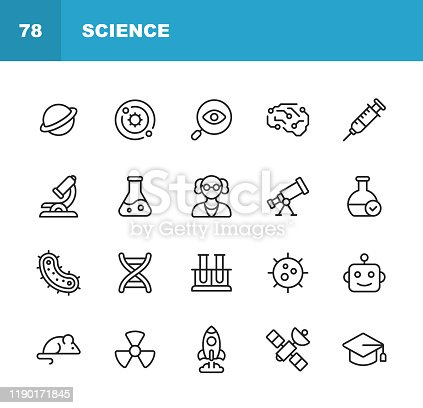 16 Science Outline Icons.