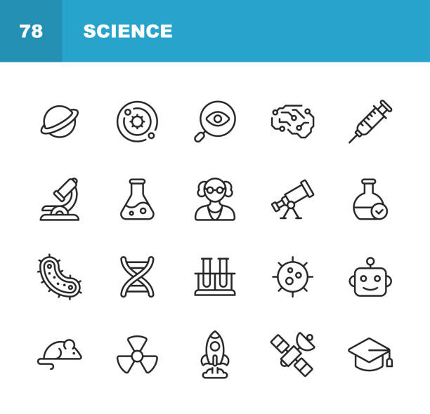 Science Line Icons. Editable Stroke. Pixel Perfect. For Mobile and Web. Contains such icons as Planet, Astronomy, Machine Learning, Artificial Intelligence, Chemistry, Biology, Medicine, Education, Scientist, Nuclear Energy, Robot, Flask. 16 Science Outline Icons. laboratory flask stock illustrations