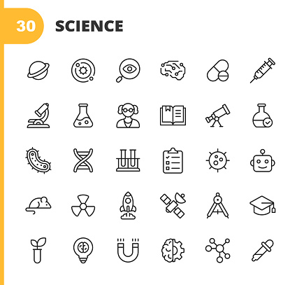30 Science Outline Icons. Planet, Solar System, Research, Artificial Intelligence, Drug, Syringe, Microscope, Flask, Scientist, Book, Telescope, Bacteria, DNA, Testing, Clipboard, Virus, Robot, Mouse, Energy, Rocket Science, Satellite, Education, Plant, Patent, Brain, Chemistry.