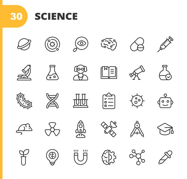 Science Line Icons. Editable Stroke. Pixel Perfect. For Mobile and Web. Contains such icons as Planet, Astronomy, Machine Learning, Artificial Intelligence, Chemistry, Biology, Medicine, Education, Scientist, Nuclear Energy, Robot, Flask, Virus. 30 Science Outline Icons. Planet, Solar System, Research, Artificial Intelligence, Drug, Syringe, Microscope, Flask, Scientist, Book, Telescope, Bacteria, DNA, Testing, Clipboard, Virus, Robot, Mouse, Energy, Rocket Science, Satellite, Education, Plant, Patent, Brain, Chemistry. science icons stock illustrations