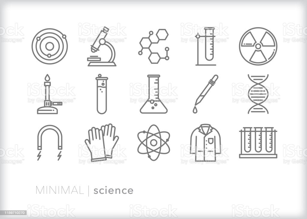 Science line iconen - Royalty-free Atoom vectorkunst