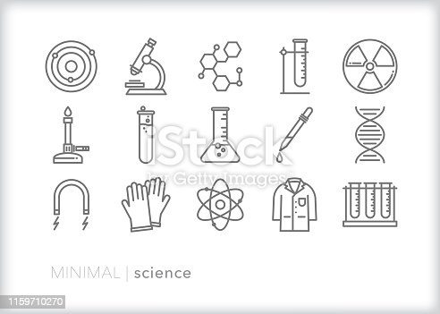 Set of 15 science line icons for education, teaching, experiments and lab including test tube, microscope, magnet, bunsen burner, molecule, atom, gloves, lab coat and beaker