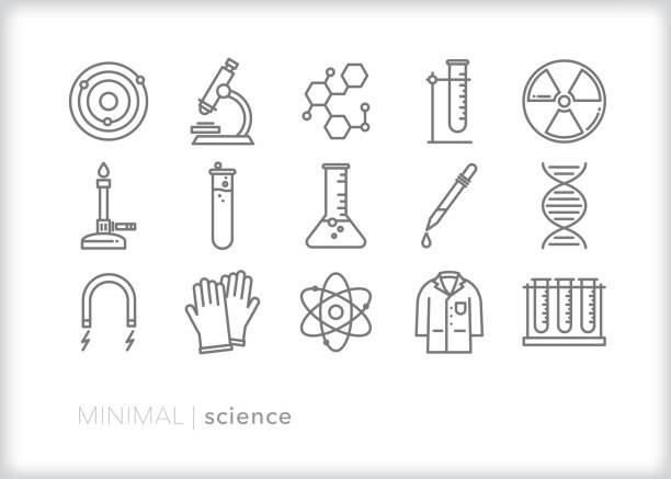 ilustraciones, imágenes clip art, dibujos animados e iconos de stock de iconos de líneas científicas - química