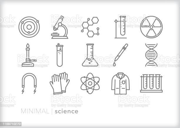 Science Line Iconen Stockvectorkunst en meer beelden van Atoom