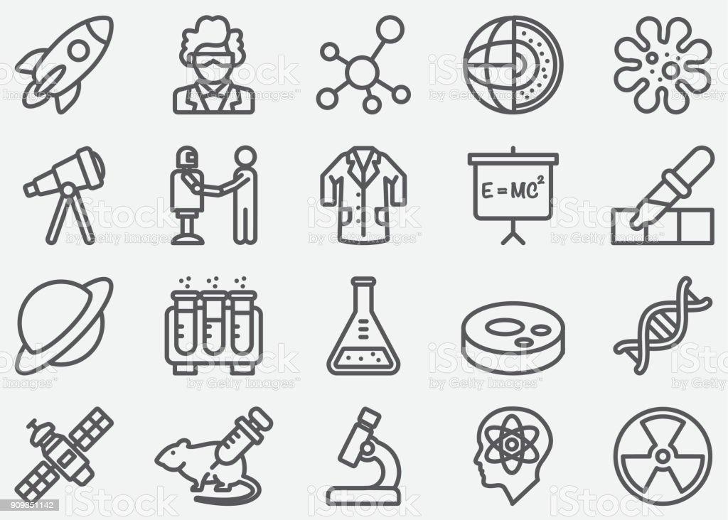 Wissenschaft-Linie-Icons – Vektorgrafik