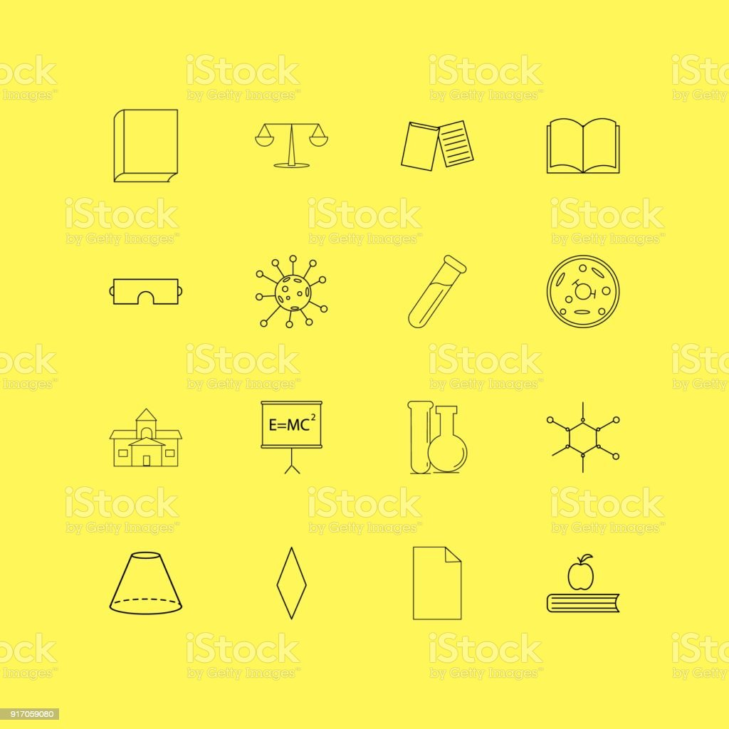 Science linear icon set. Simple outline icons vector art illustration