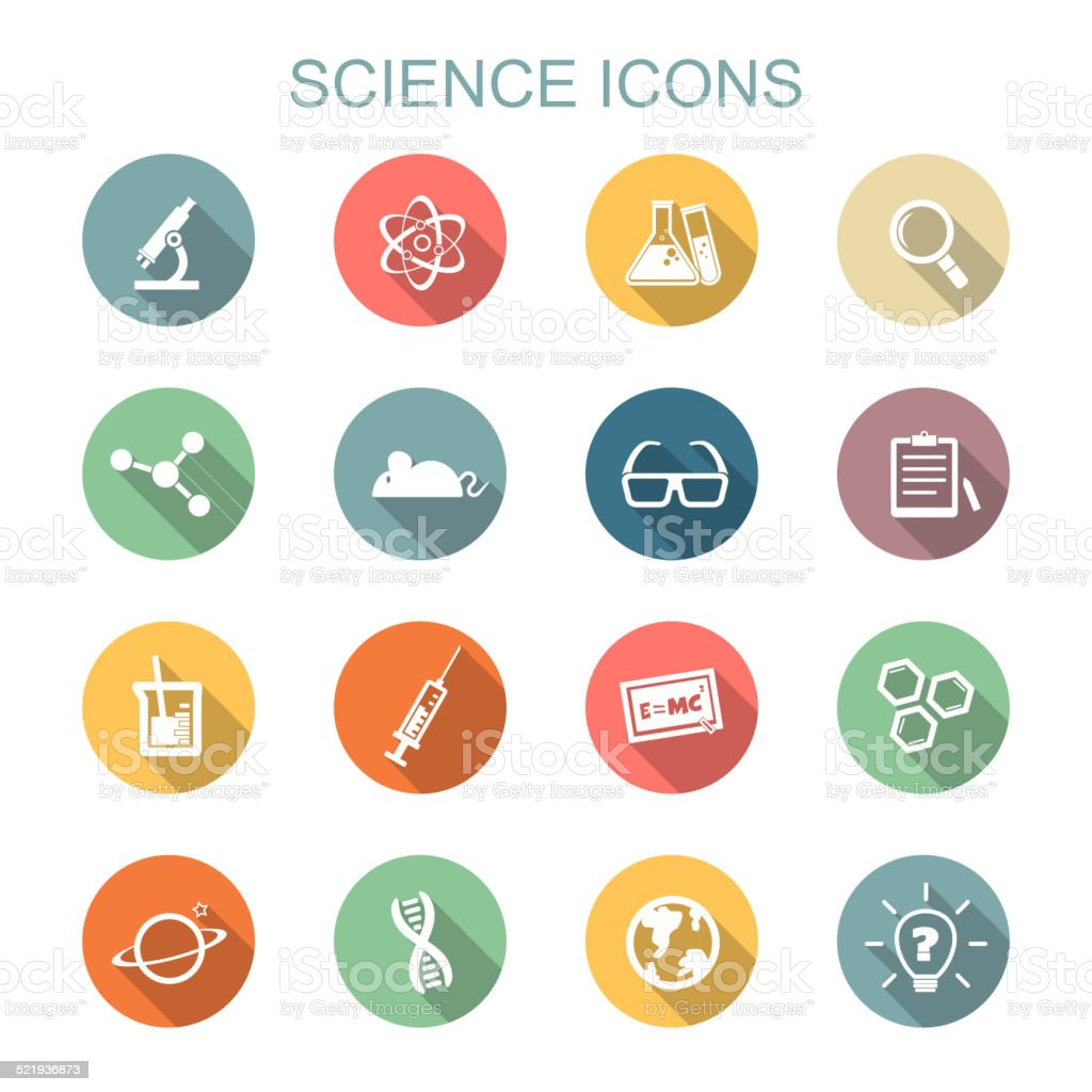 science long shadow icons vector art illustration