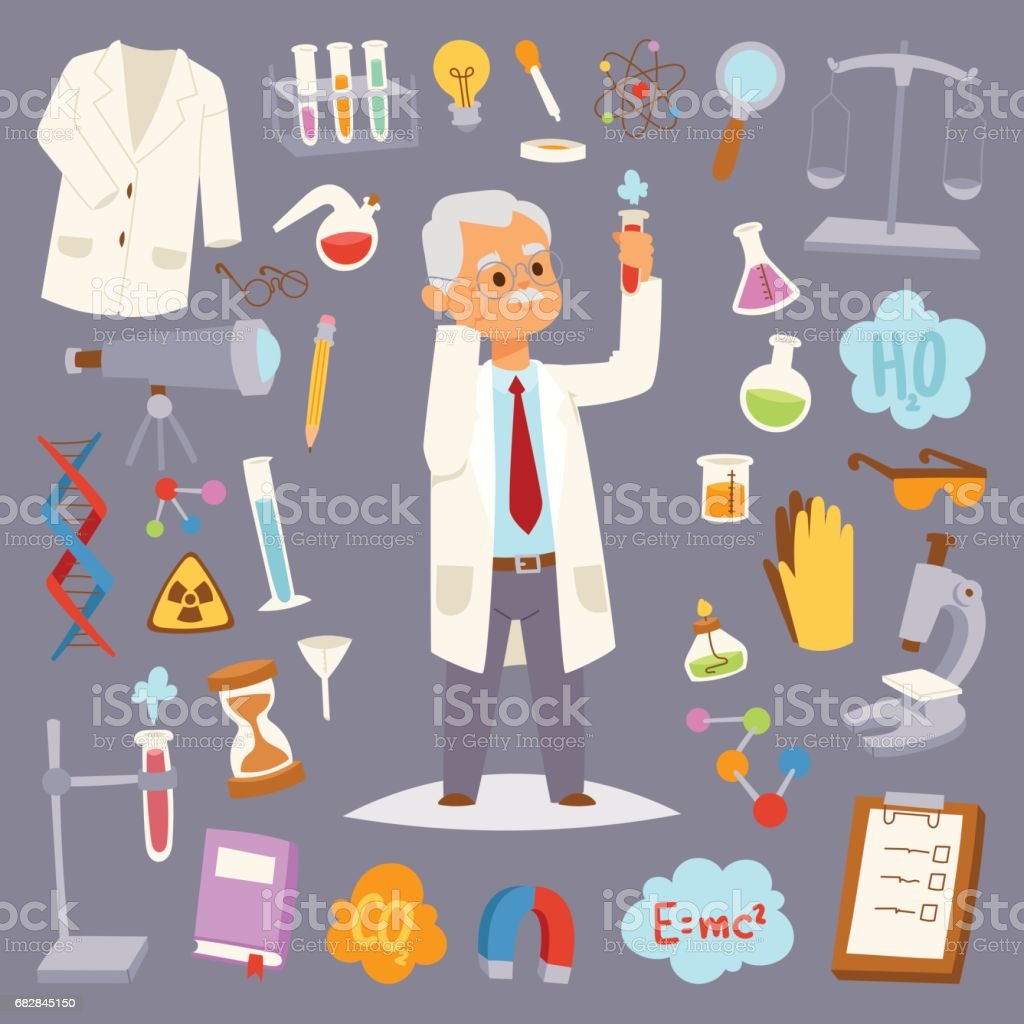 Science man character professor lab icons vector illustration vector art illustration