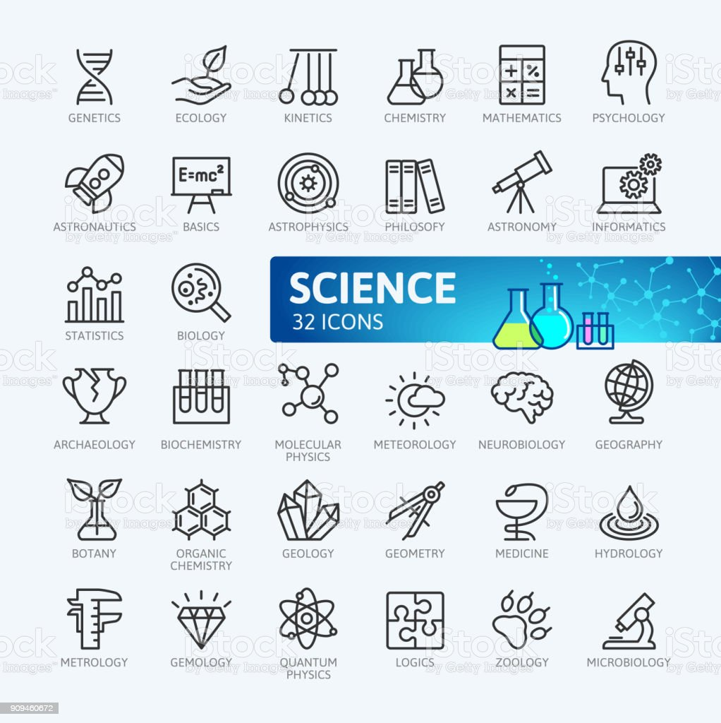 Ciencia - colección de iconos de contorno mínimo - ilustración de arte vectorial